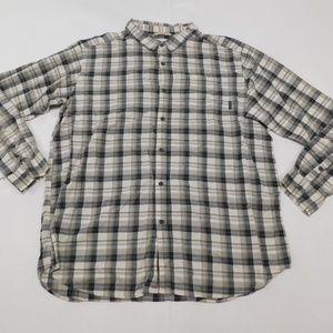 Columbia 2XLT Beige Gray Button Down Shirt  Cotton